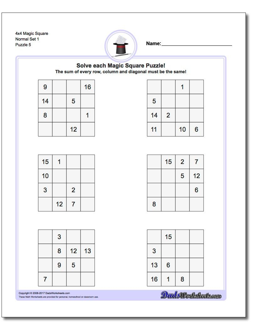 4X4 Magic Square Normal Set 1 Worksheet #magic #square