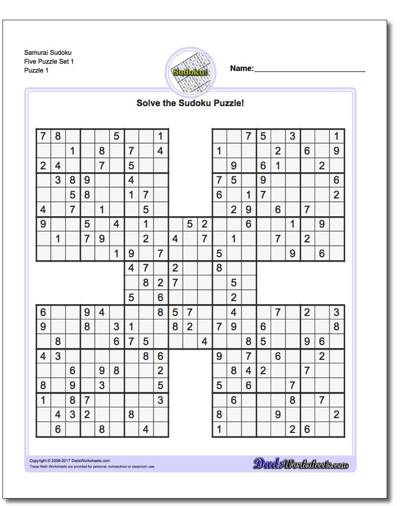 Awesome Printable Samurai Sudoku Worksheets!   Sudoku