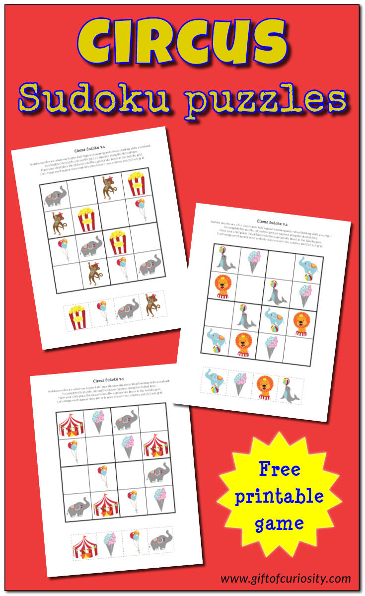 Circus Sudoku {Free Printables} - Gift Of Curiosity