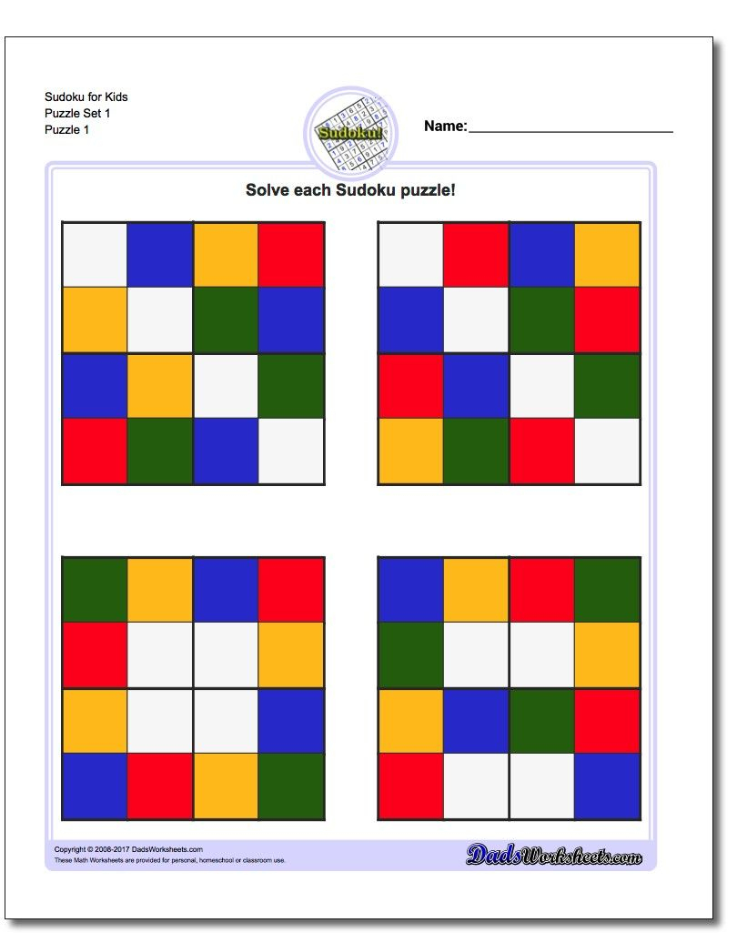 Color Sudoku For Kids | Sudoku, Puzzles For Kids, Sudoku Puzzles