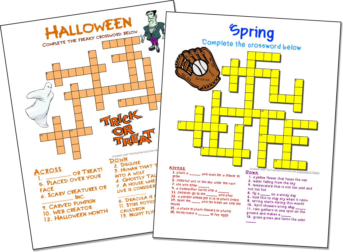 Crossword Puzzle Maker | World Famous From The Teacher's Corner