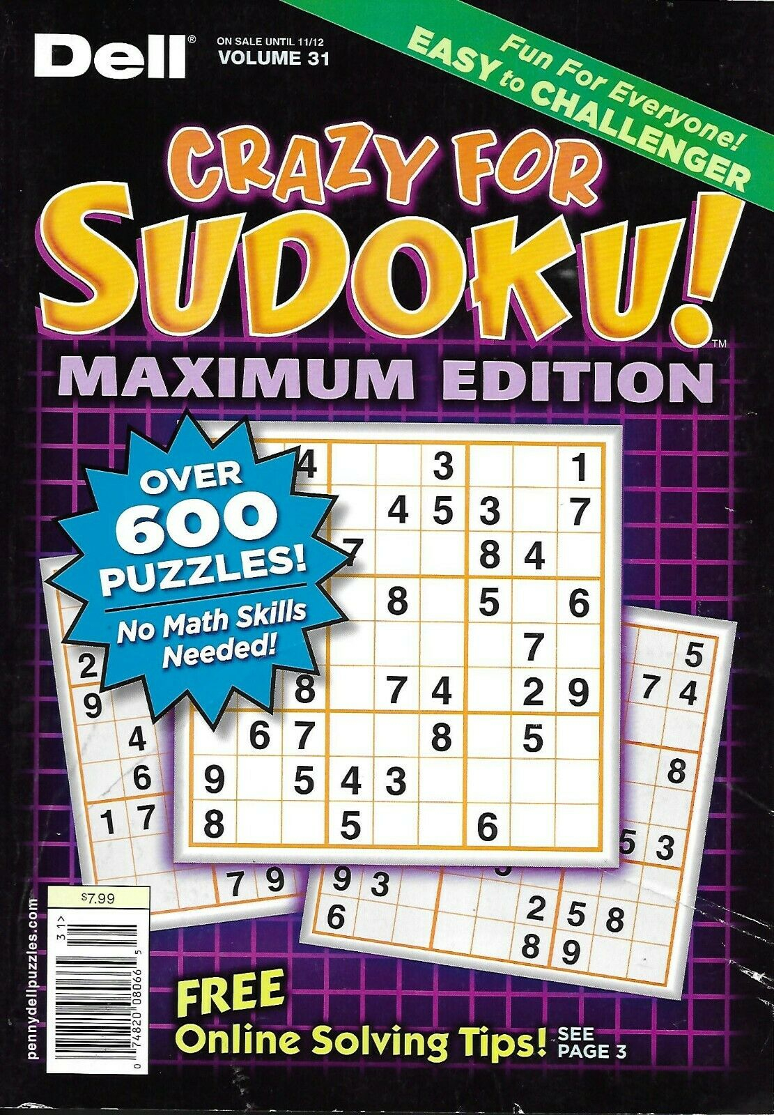 Dell Sudoku Magazine Over 600 Puzzles Easy Medium Hard Super Challenger 2012