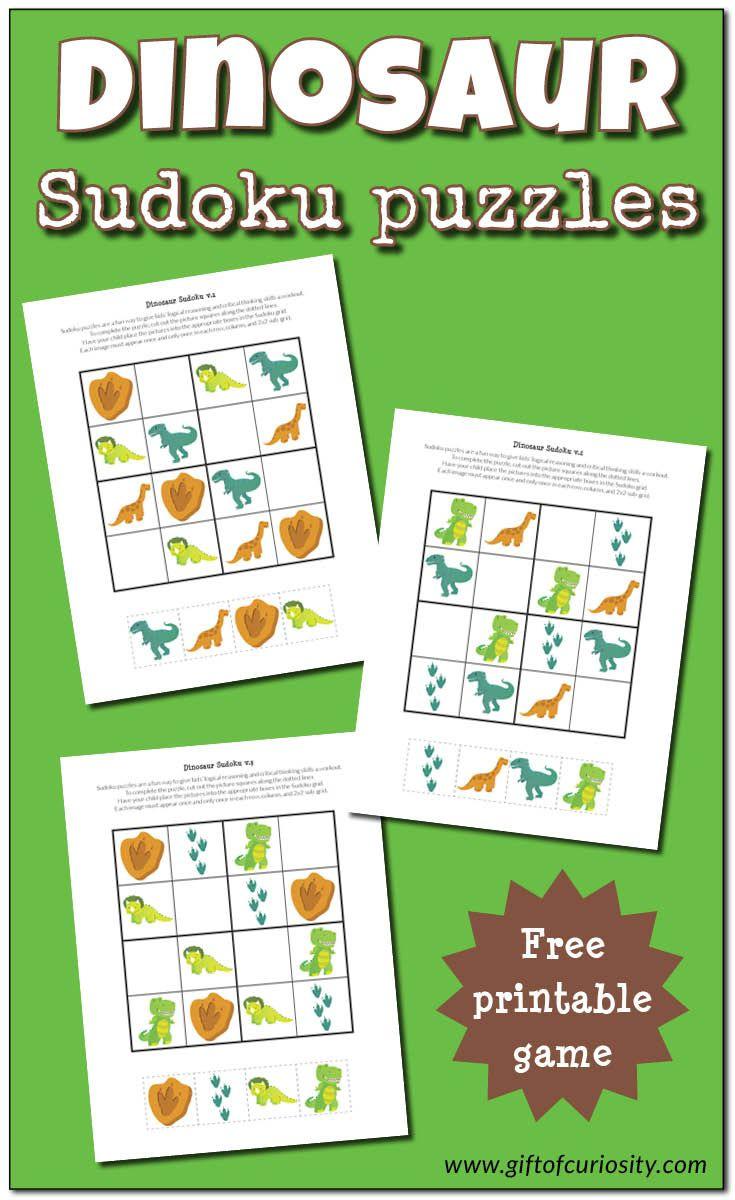 Dinosaur Sudoku Puzzles {Free Printables} - Voor Kinderen