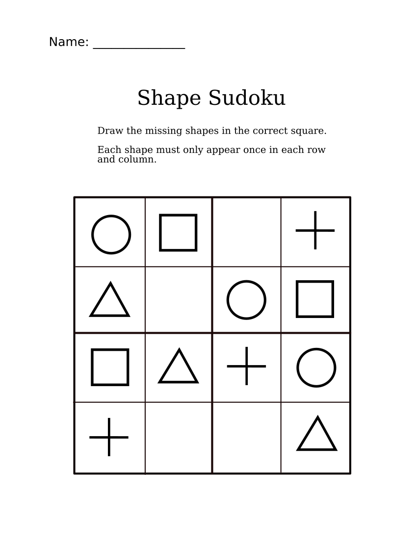Easy Shapes Sudoku For Kindergarteners | Fun Math Worksheets
