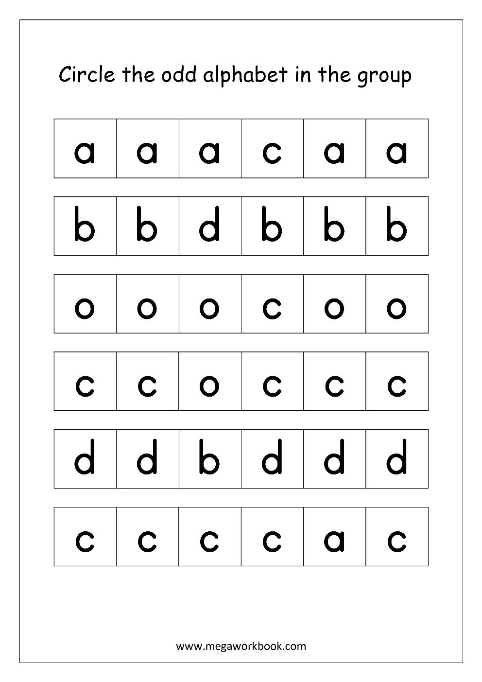 English Worksheet - Confusing Alphabets (Circle The Odd One
