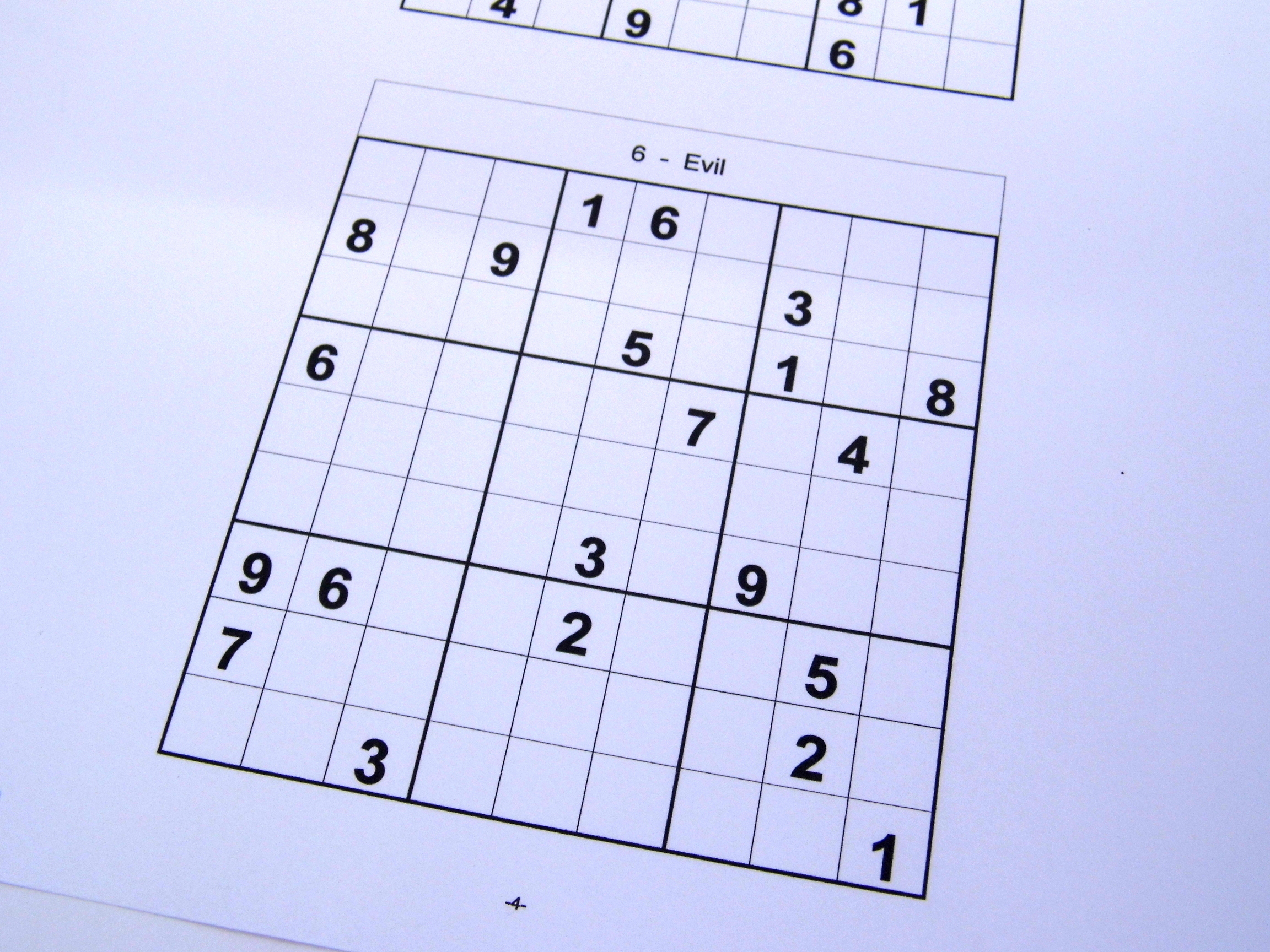 Evil Printable Sudoku Puzzles 6 Per Page – Book 12 – Free