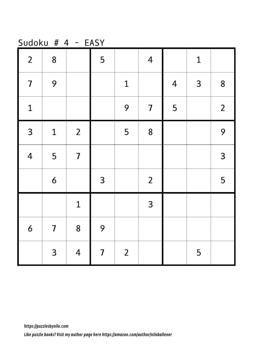 Free Downloadable Sudoku Puzzle Easy #4 | Sudoku Puzzles
