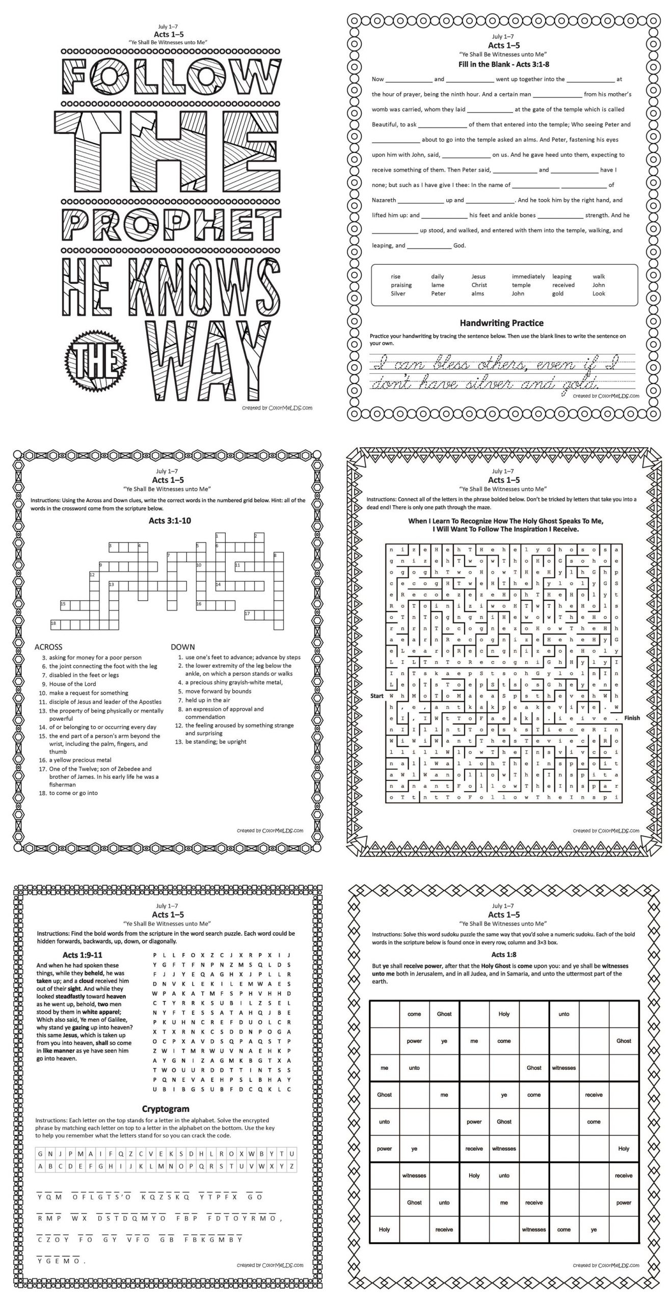 Free Lds Worksheets And Printables - Mazes, Crosswords, Word