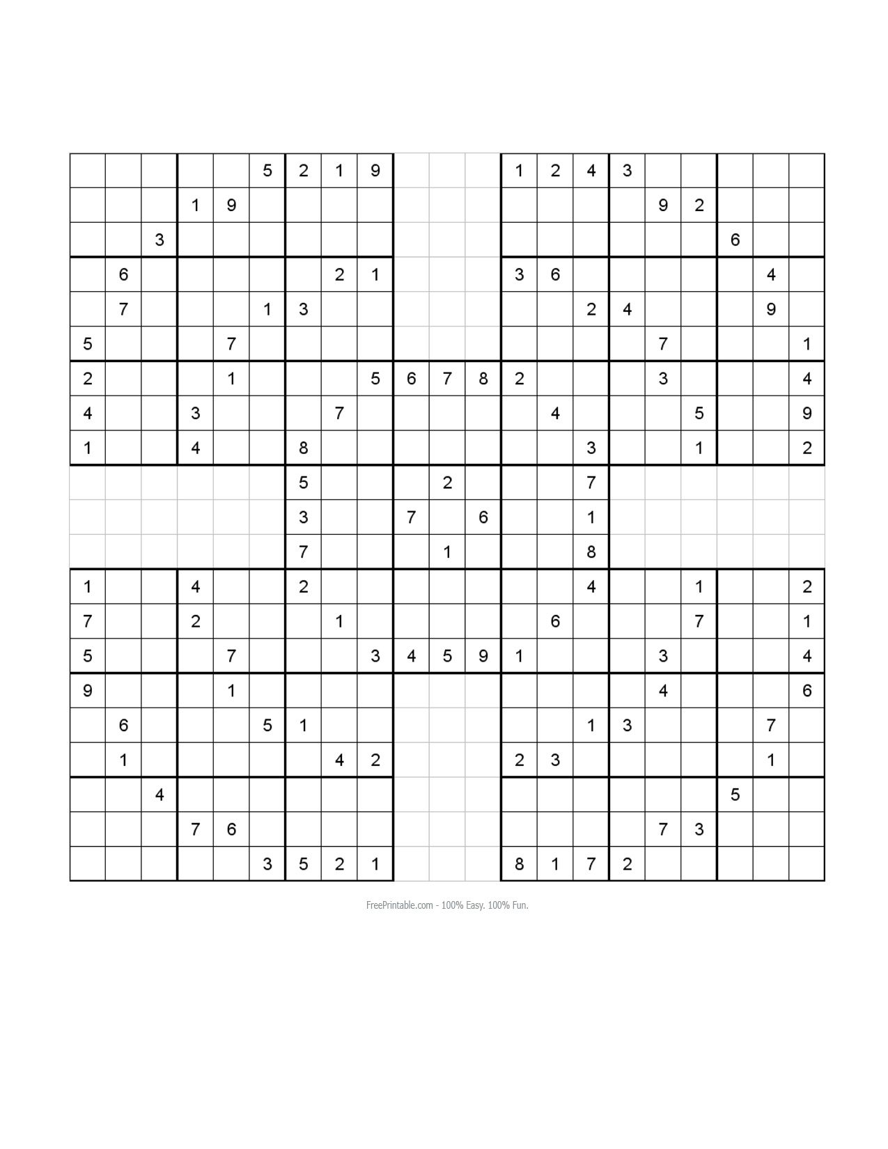 Free Printable Samurai Sudoku Puzzles | Puzzel, Spellen