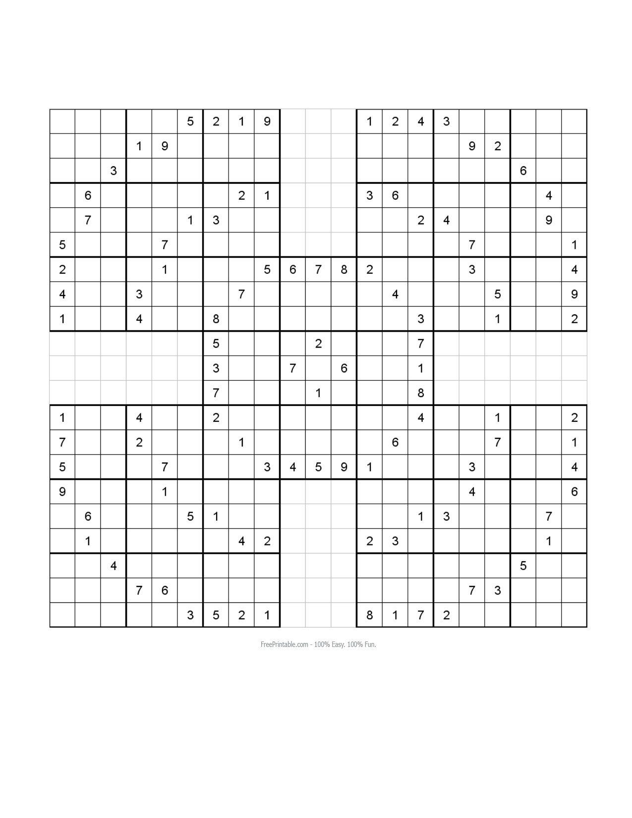 Free Printable Samurai Sudoku Puzzles | Sudoku Puzzles