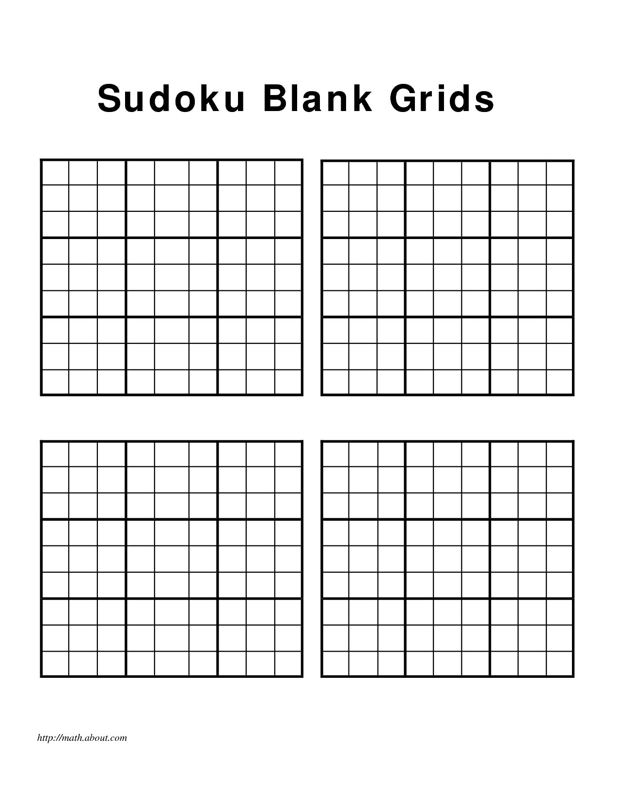 Free+Printable+Blank+Sudoku+Grids   Sudoku, Sudoku Printable