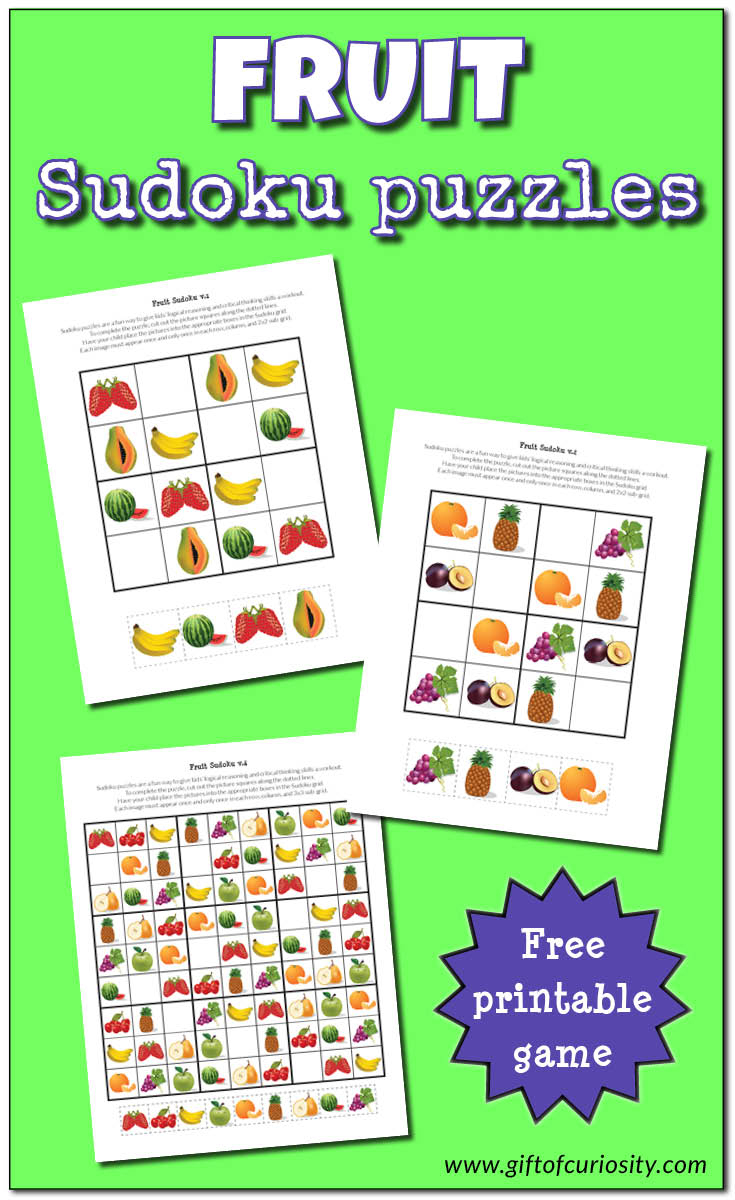 Fruit Sudoku Puzzles {Free Printables} - Gift Of Curiosity