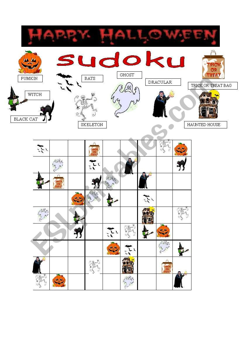 Halloween Sudoku - Esl Worksheetgreek Professor