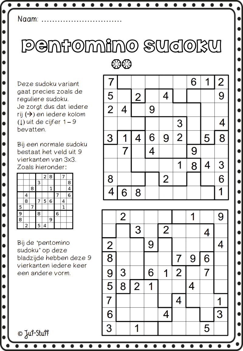 Juf-Stuff Pentomino Sudoku 2.pdf | Wiskunde, Breinbrekers