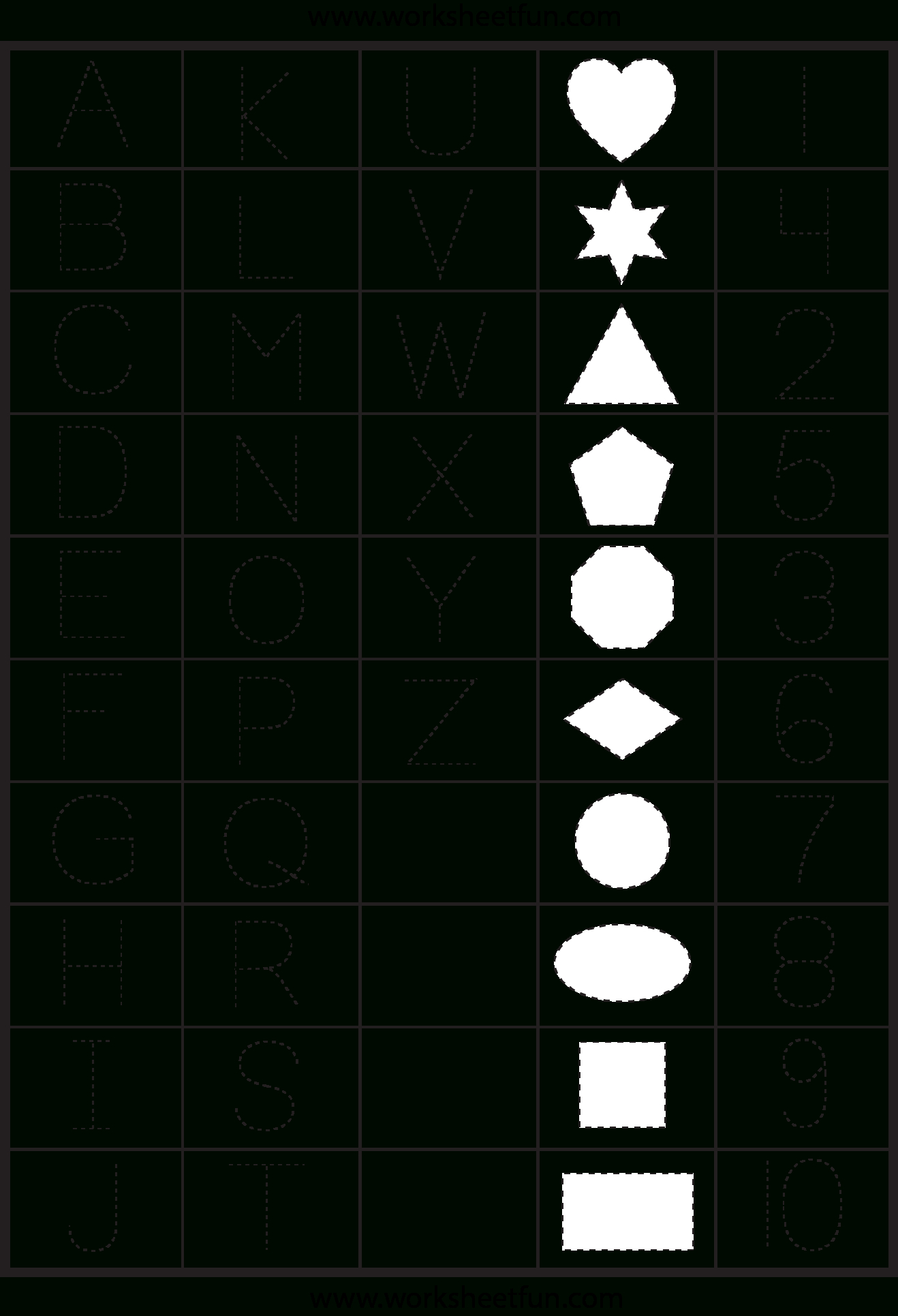 Letters, Numbers And Shapes Tracing Worksheet | Alfabet