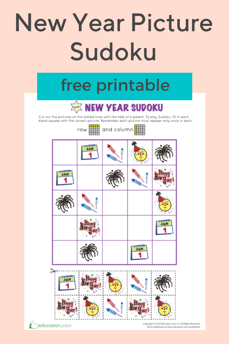 New Year Picture Sudoku | New Year Pictures, Education