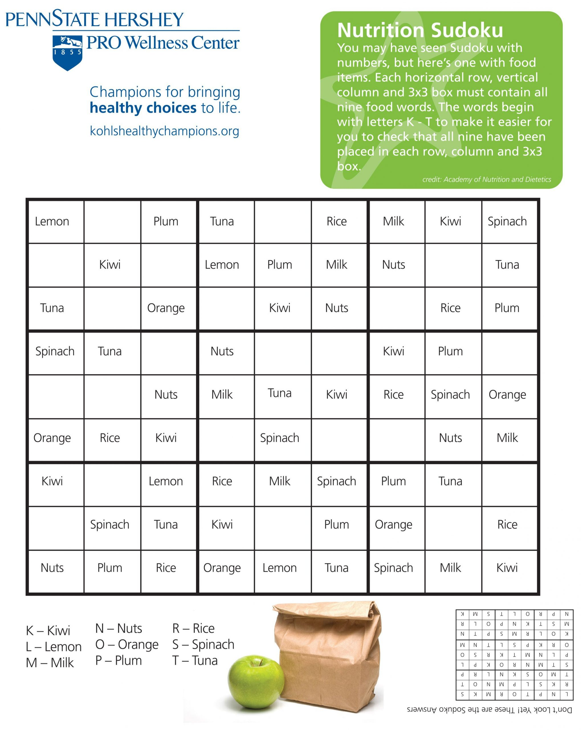 Nutrition Sudoku | Food Words, Learning Theory, Healthy Choices