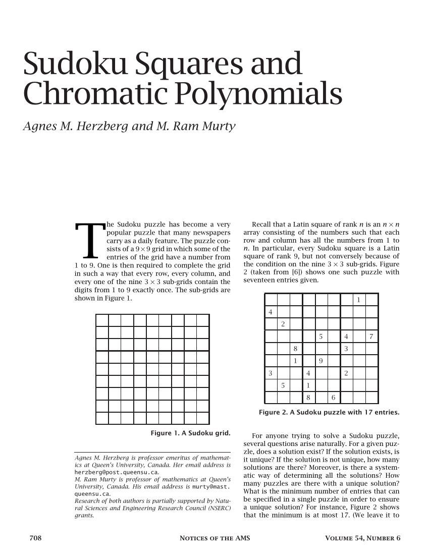 Pdf) Sudoku Squares And Chromatic Polynomials