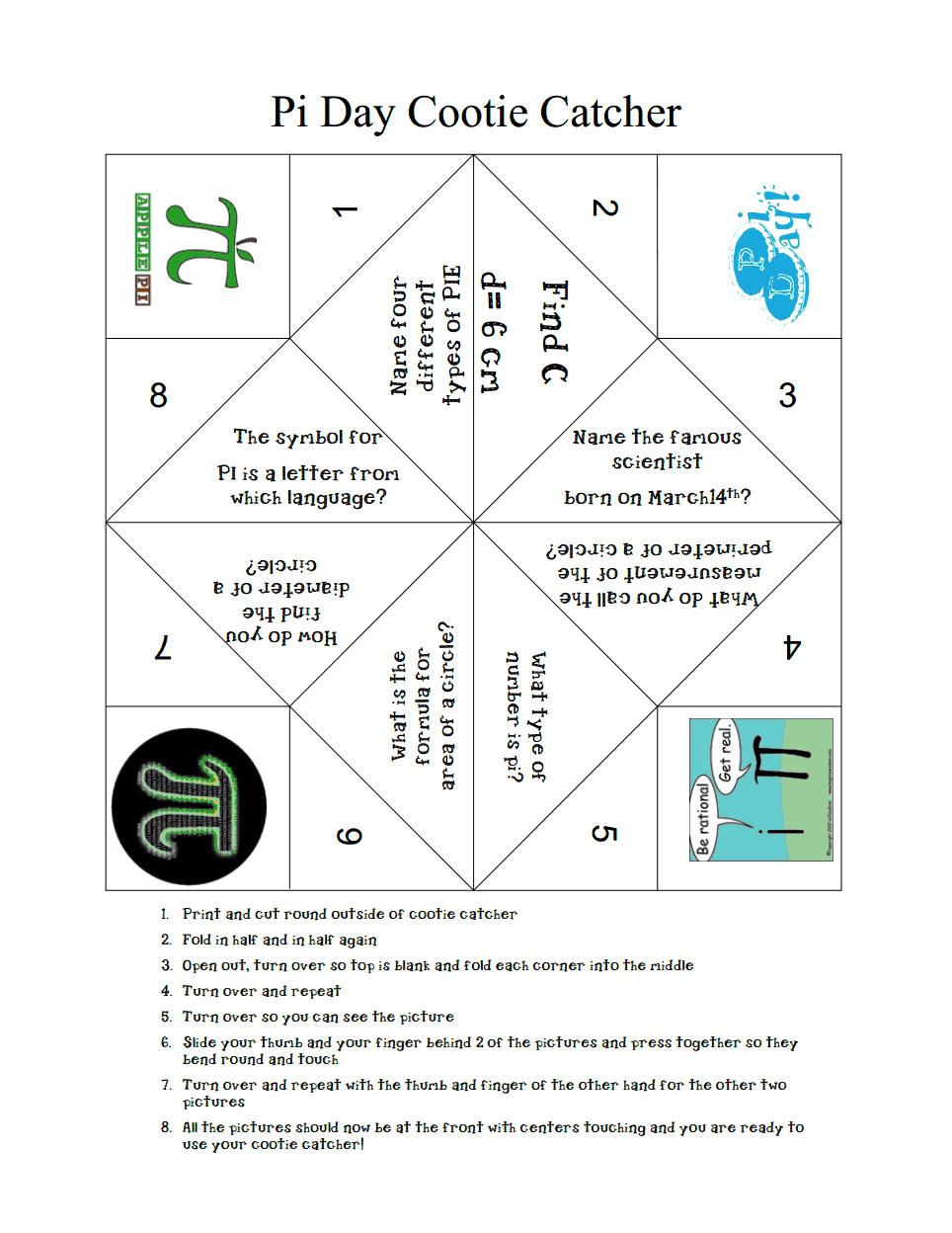 Pi Day Cootie Catcher.pdf | Pi Activities, Math Night