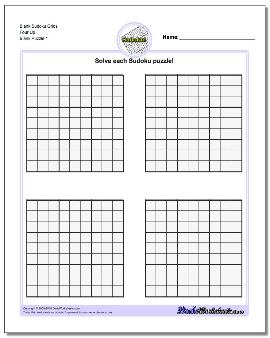 Printable Blank Sudoku Grids | Shop Fresh