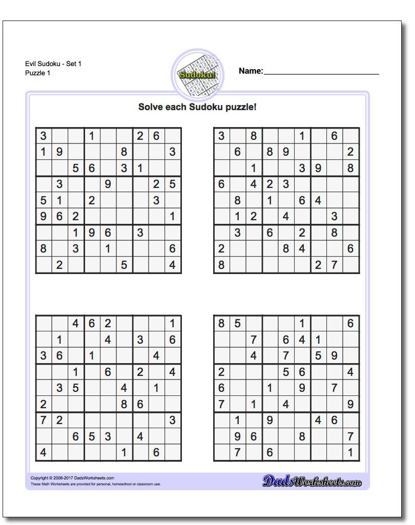 Printable Evil Sudoku Https://www.dadsworksheets/puzzles
