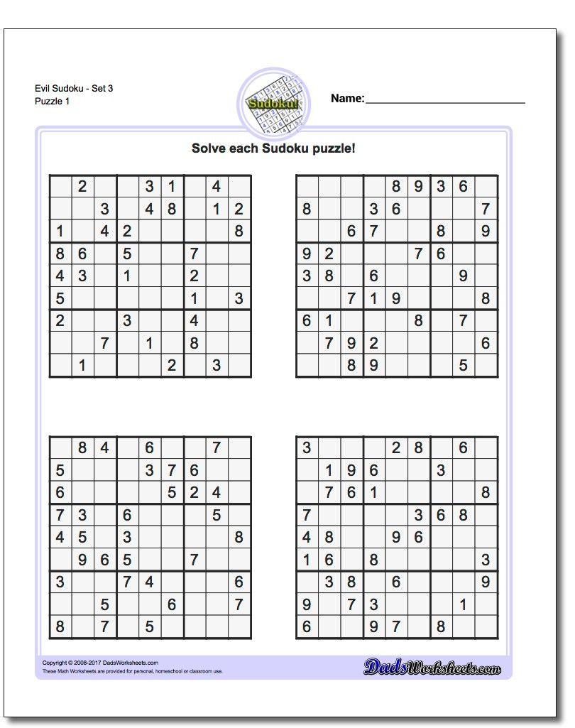 Printable Evil Sudoku | Sudoku Printable, Sudoku, Math