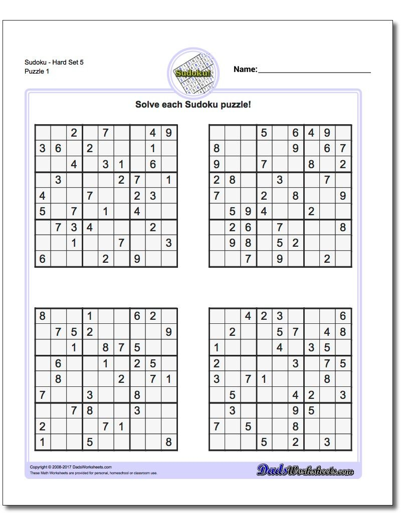 Printable Hard Sudoku Https://www.dadsworksheets/puzzles