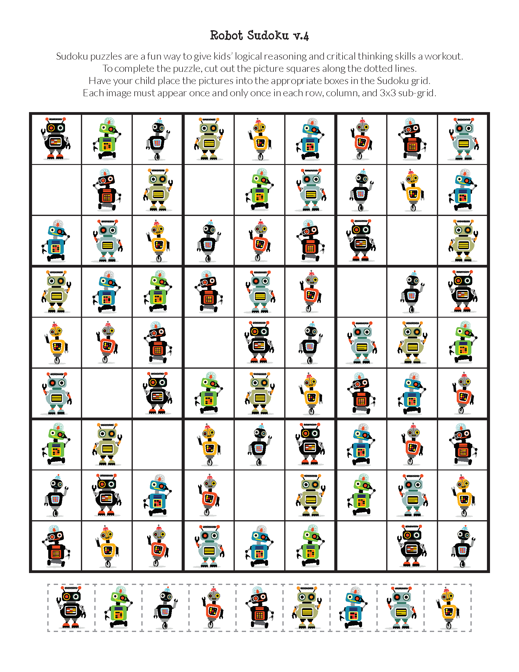 Robot Sudoku Puzzles {Free Printables} - Gift Of Curiosity