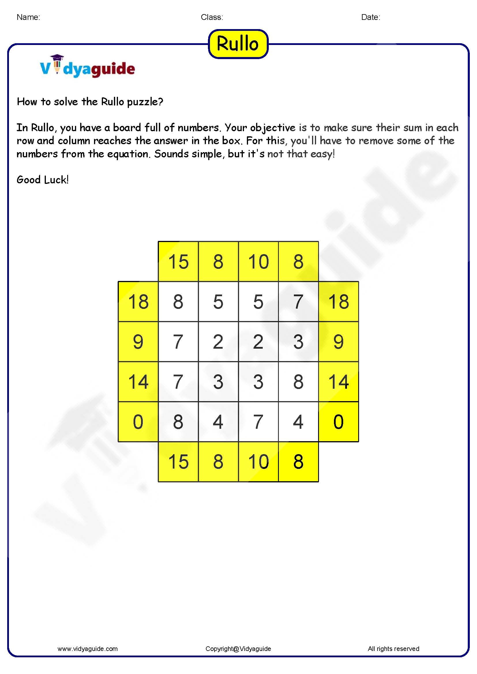 Rullo 01 - Download This Printable Math Puzzle Game As A Pdf