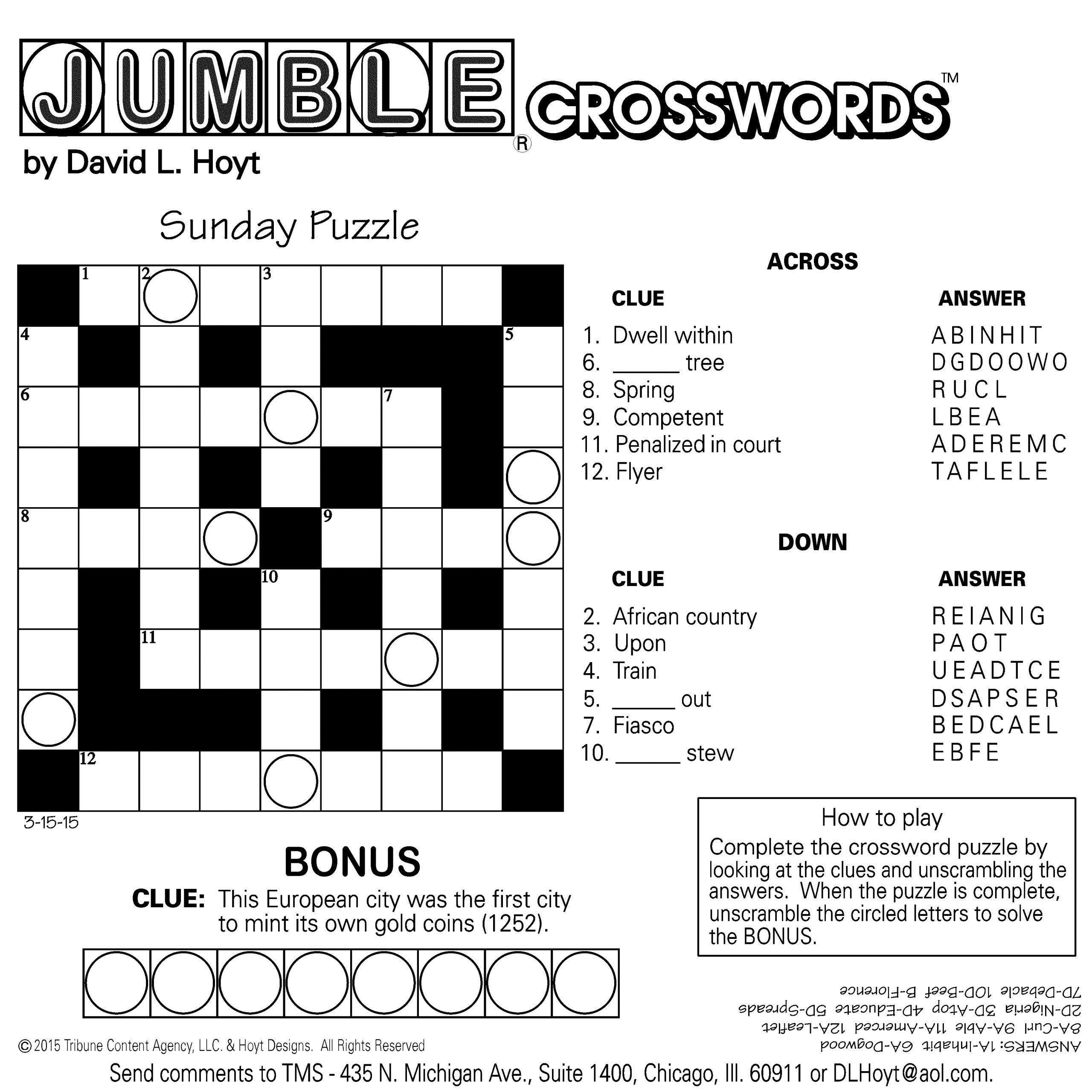Sample Of Square Sunday Jumble Crosswords | Tribune Content