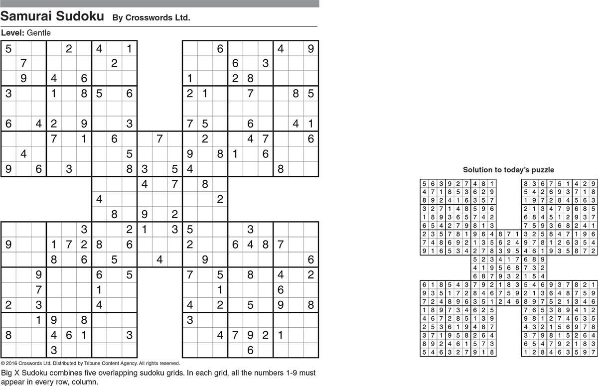 Samurai Sudoku: Gentle Sample 1 | Tribune Content Agency