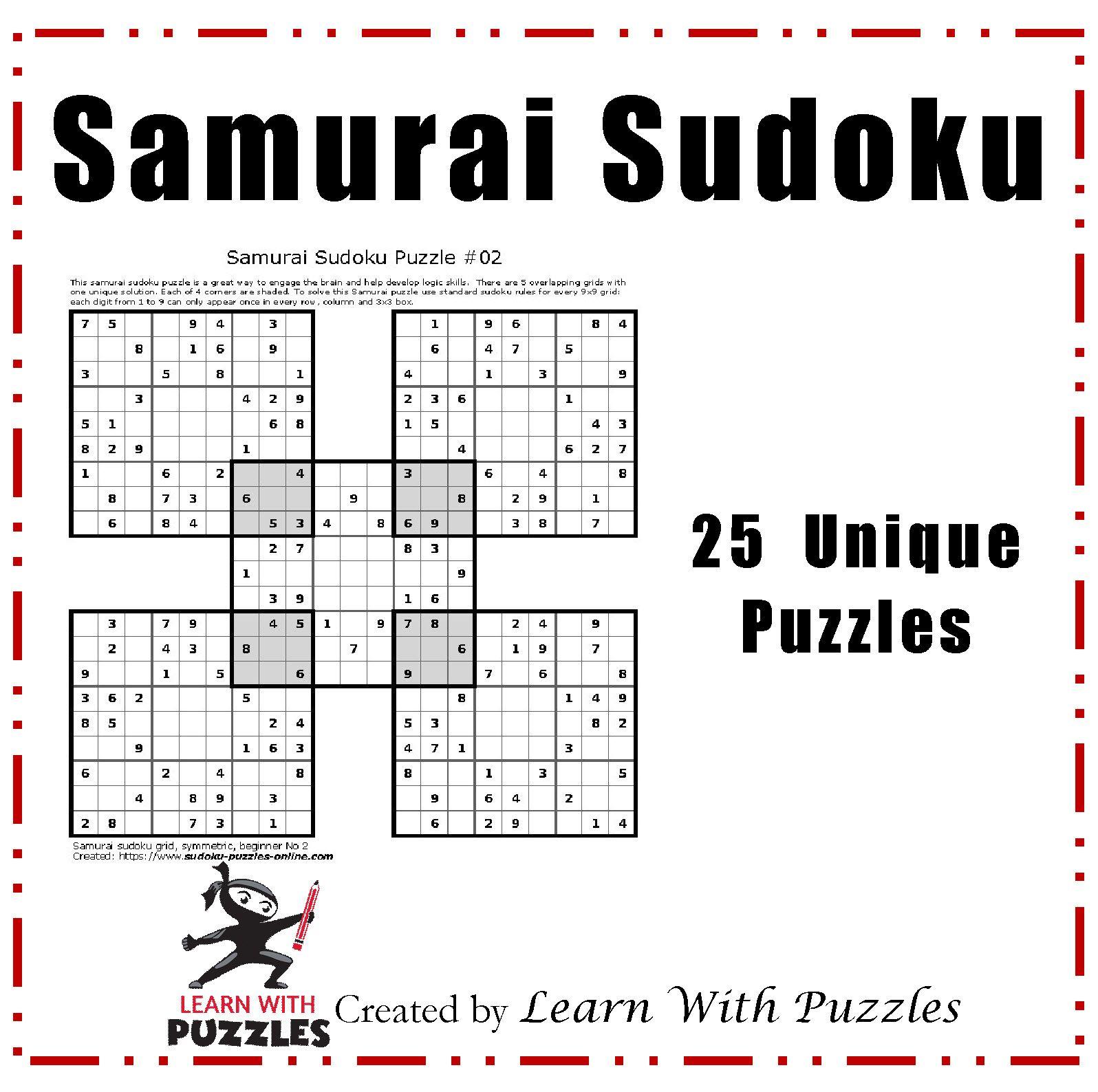 Samurai Sudoku Puzzles - 25 Unique Sudoku Puzzle Collection