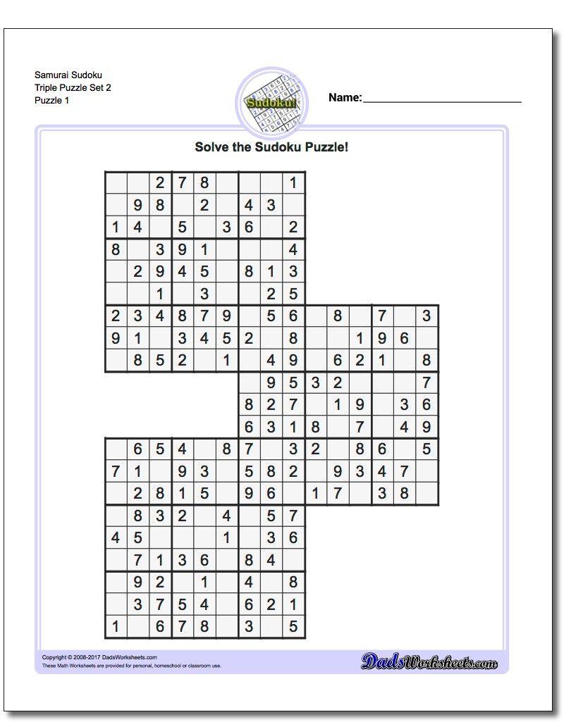 Samurai Sudoku Triples Https://www.dadsworksheets