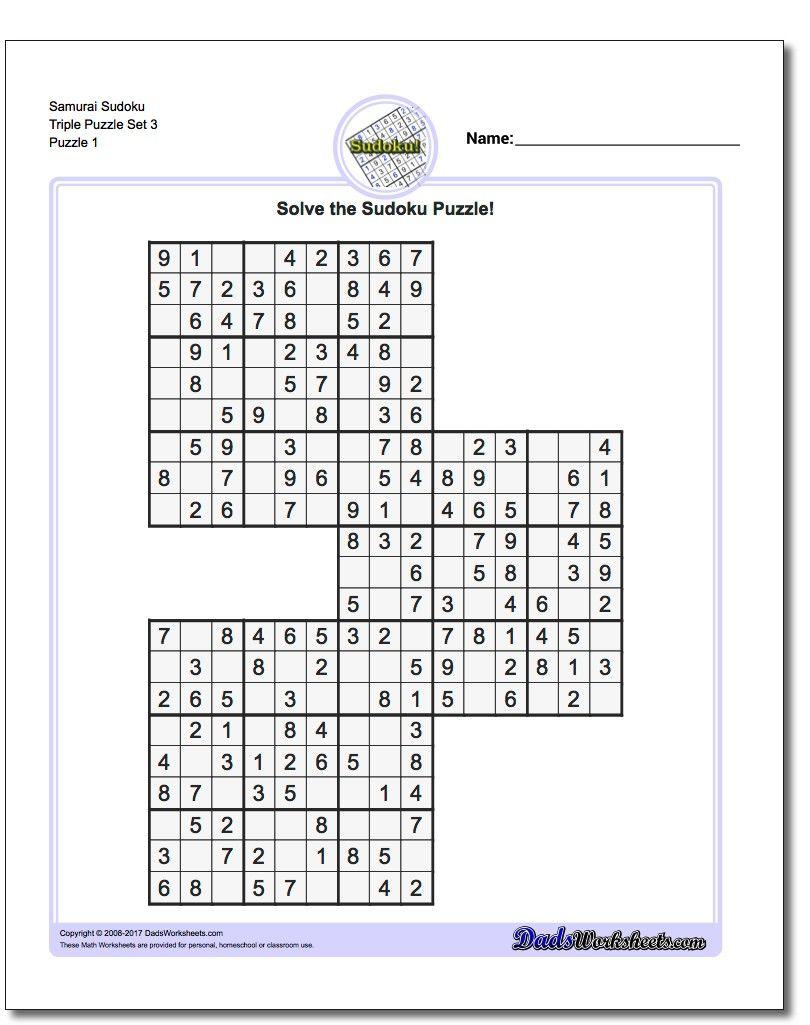 Samurai Sudoku Triples | Sudokus, Problemas Matemáticos