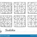 Set Of Sudoku Puzzles. 3 Difficulty Levels. Logic Game For