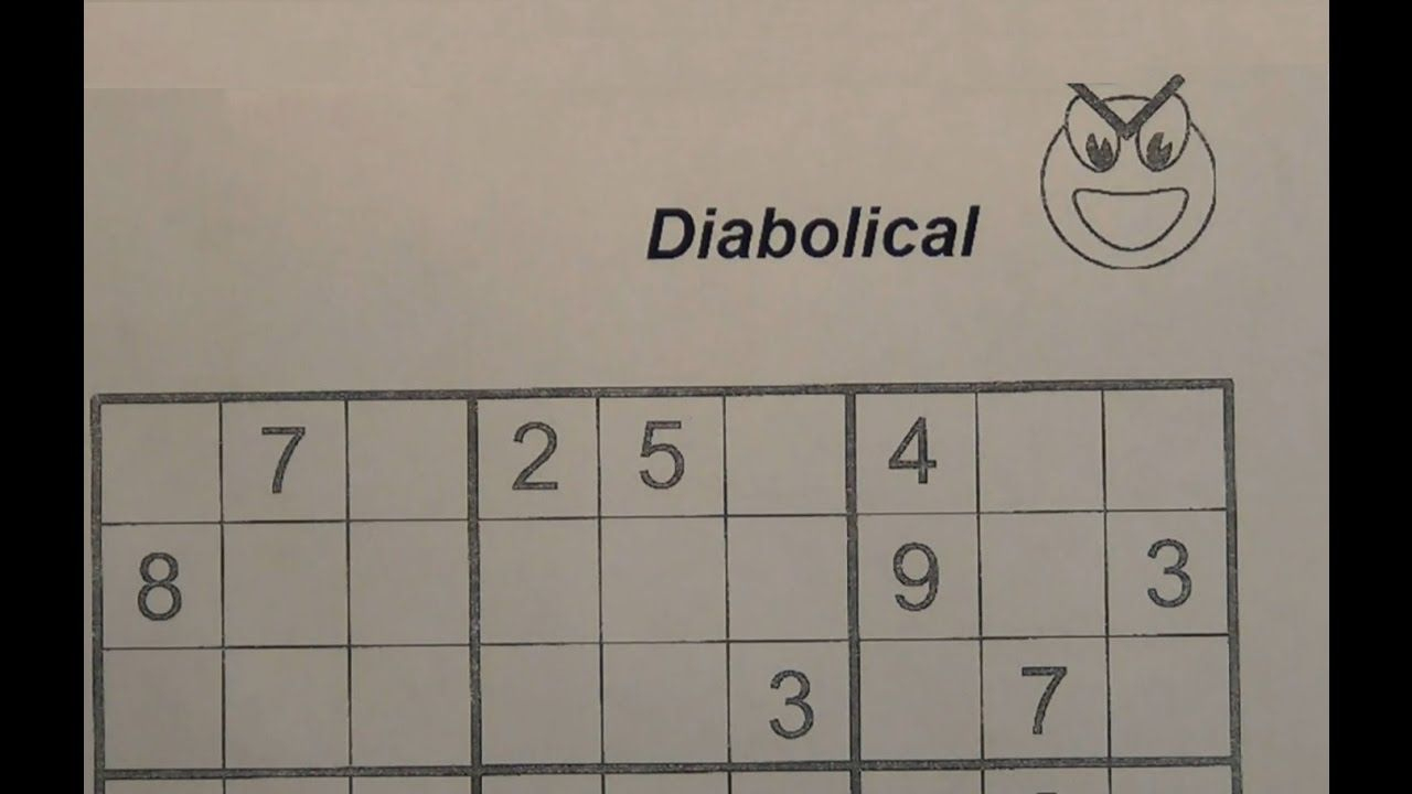 Solve Diabolical Sudoku Puzzles - Very Hard - Youtube