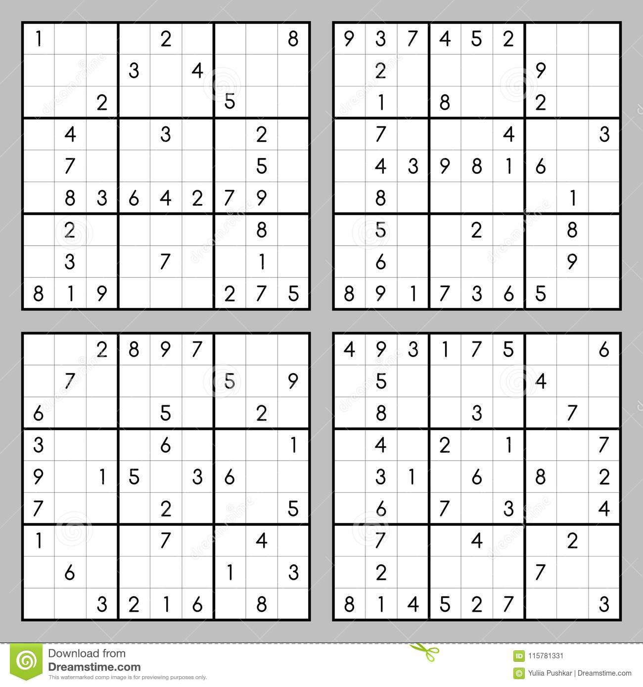 Sudoku Game Vector Set Stock Vector. Illustration Of Game