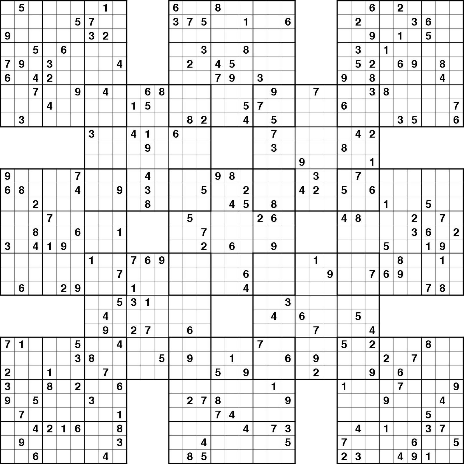 Sudoku High Fives Hard | Sudoku Printable, Sudoku, Sudoku