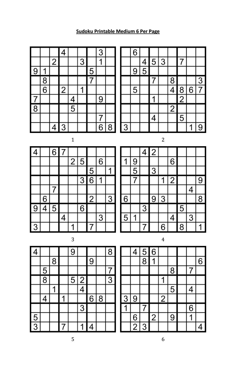 Sudoku Printable Medium 6 Per Pageaaron Woodyear - Issuu