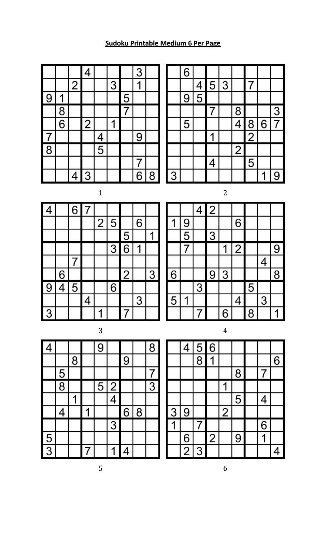Sudoku Printable Medium 6 Per Pageaaron Woodyear - Issuu
