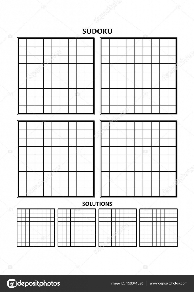 Sudoku Template, Four Grids With Solutions On A4 Or Letter