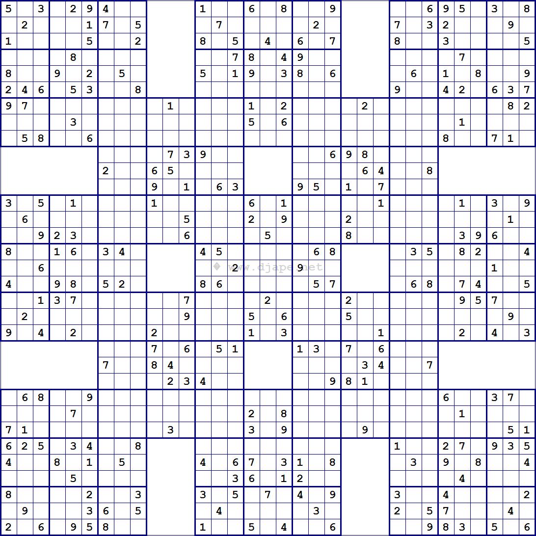 Super Samurai Sudoku 13 Gridsdjape | Sudoku Puzzles