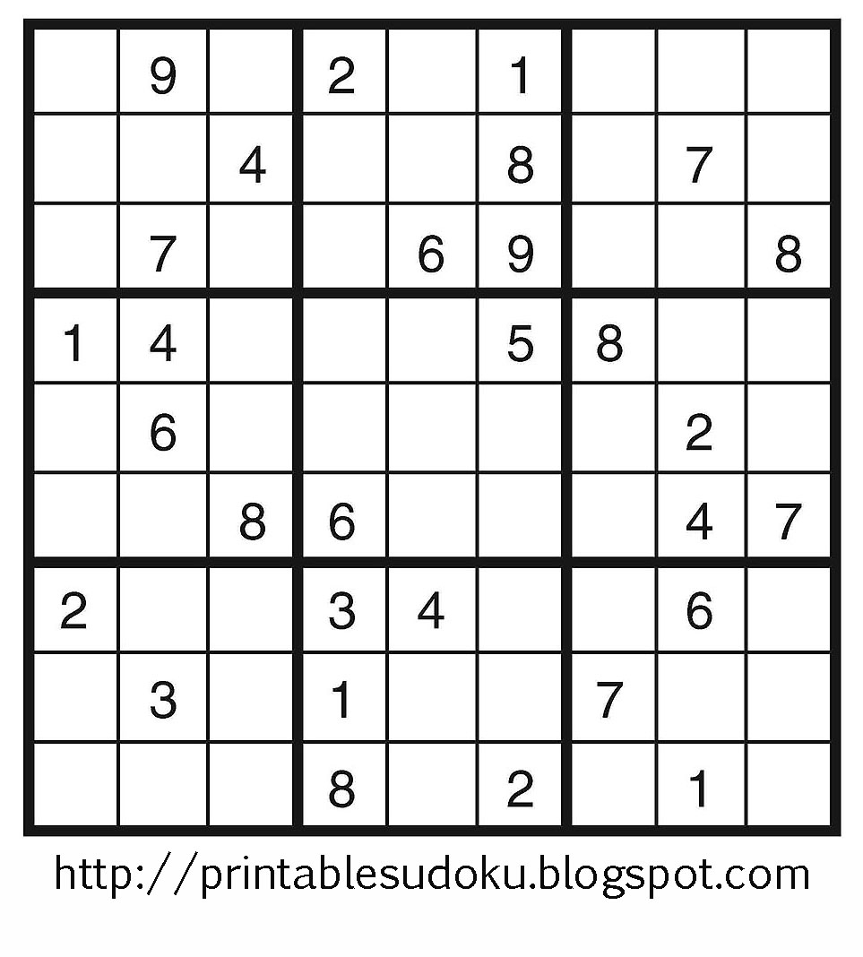 Tory Kost's Blog: About 'printable Sudoku Puzzles'|Printable