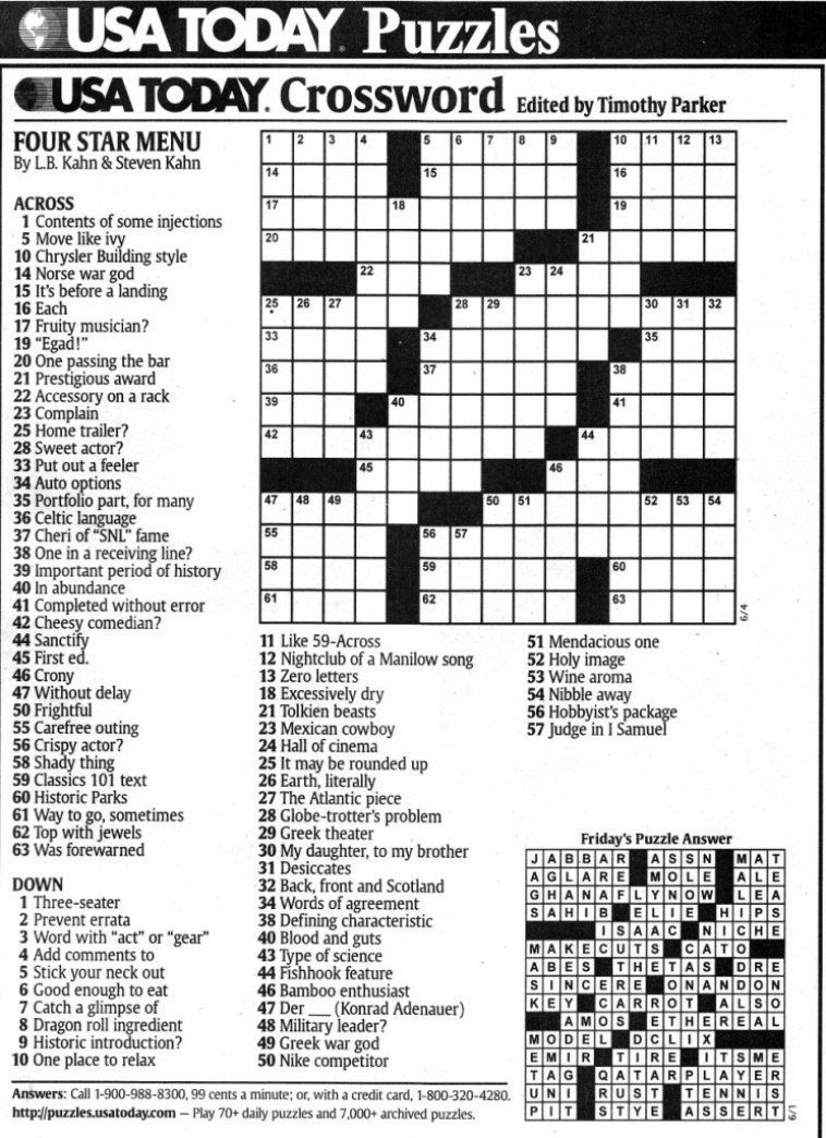 Usa Today Printable Crossword | Freepsychiclovereadings In