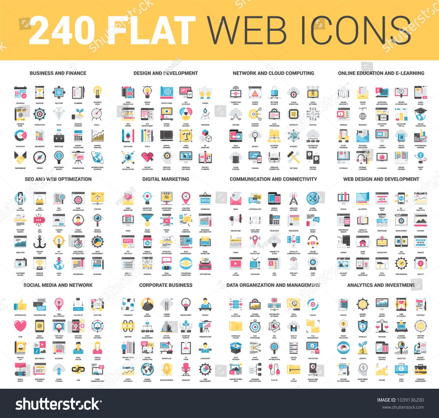 Vector Set Of 240 64X64 Pixel Perfect Flat Web Icons. Fully