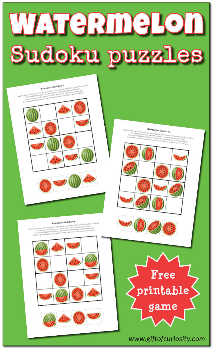 Watermelon Sudoku Puzzles {Free Printables} - Gift Of Curiosity