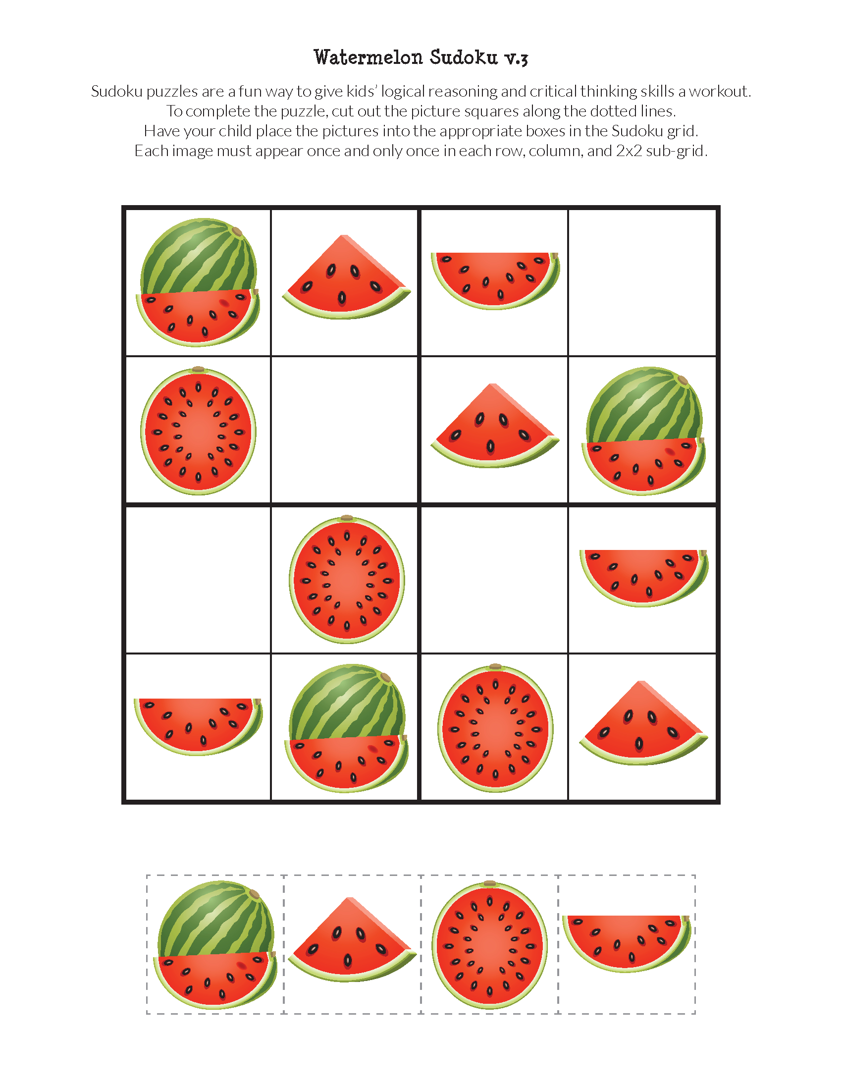 Watermelon Sudoku Puzzles {Free Printables} | Sudoku Puzzles