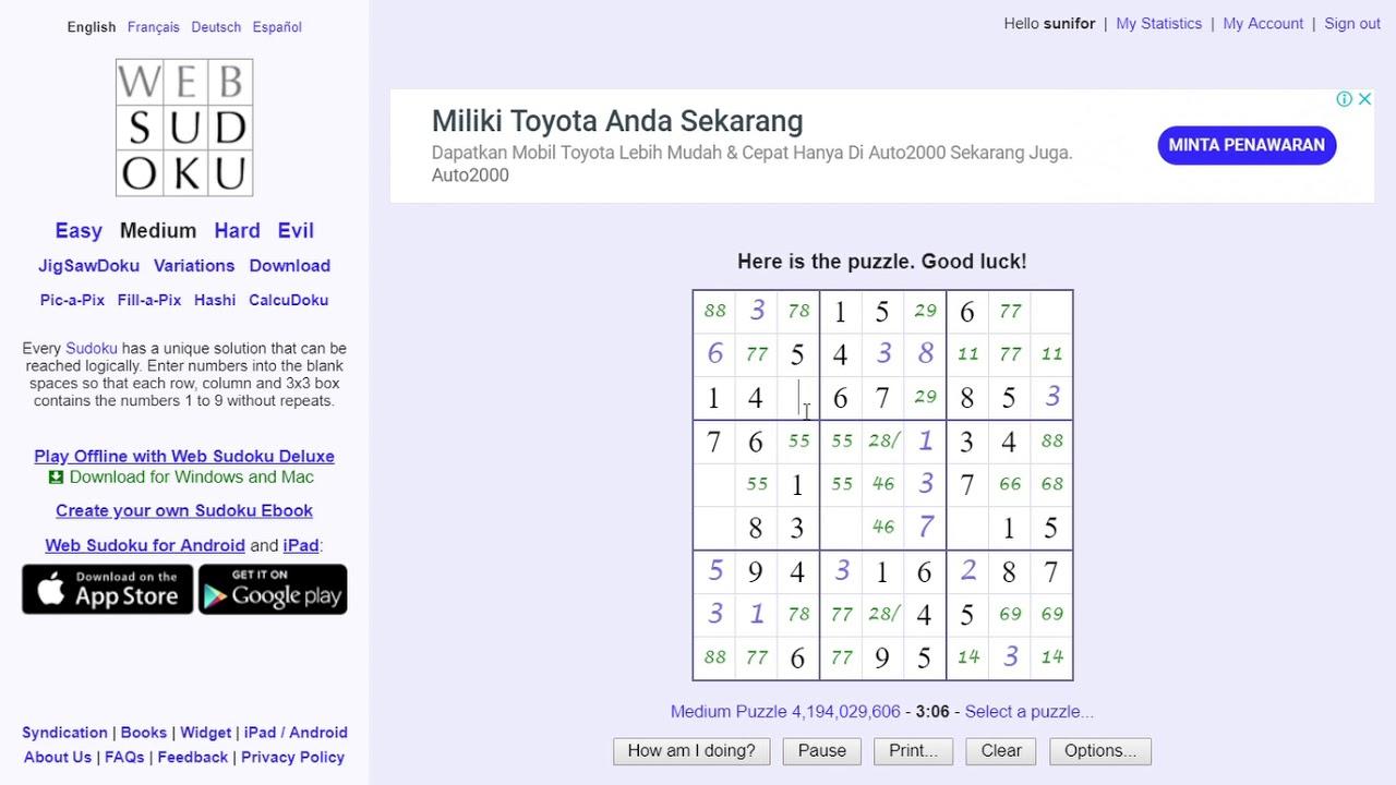 Web Sudoku Medium | Printablepedia