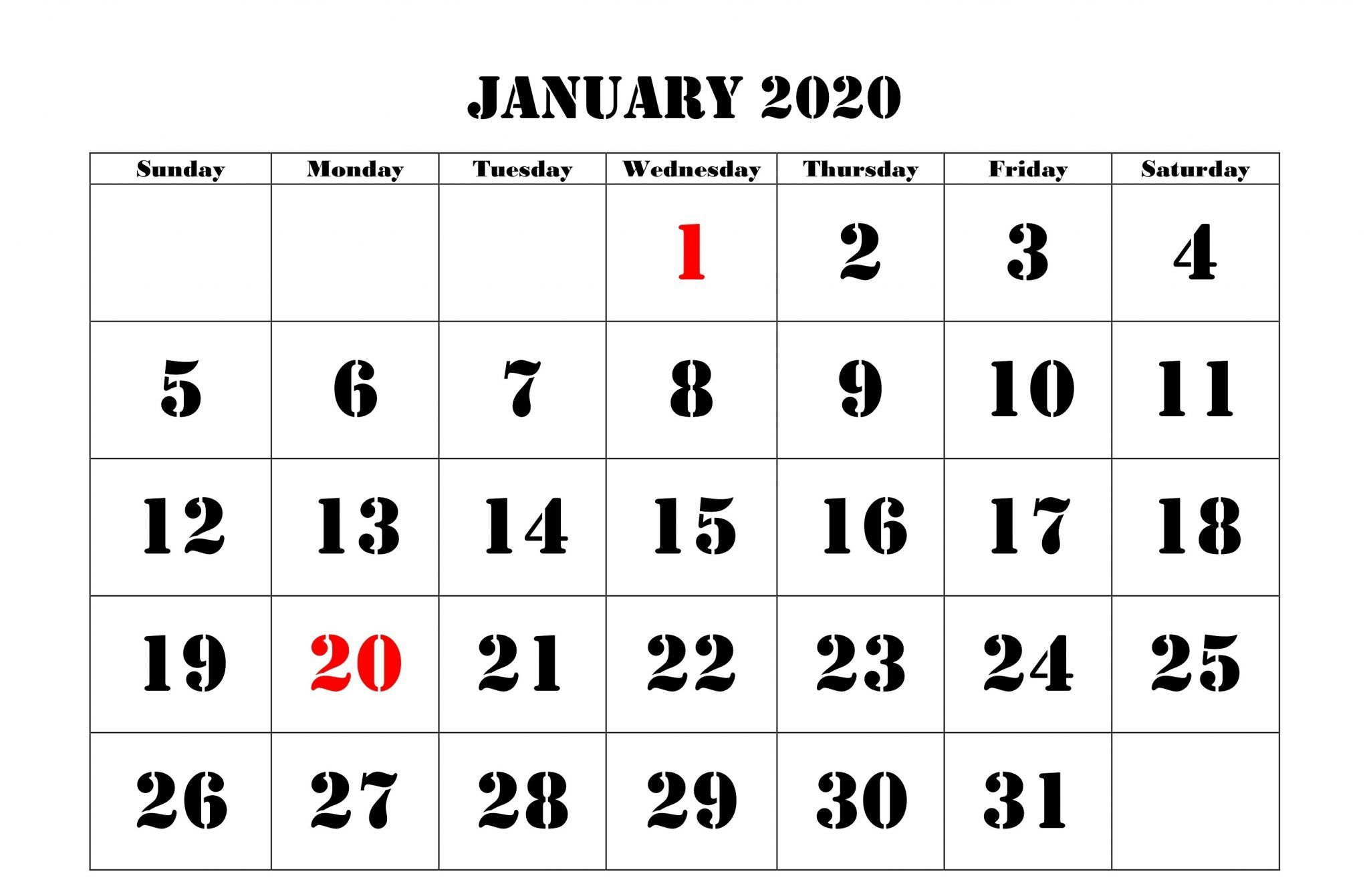 2020 January Holidays Calendar Printable Templates (With