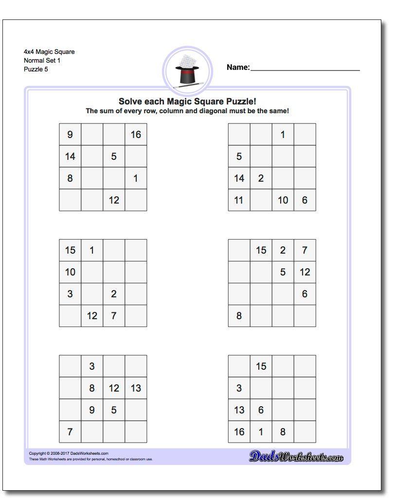 4X4 Magic Square Normal Set 1 Worksheet #magic #square